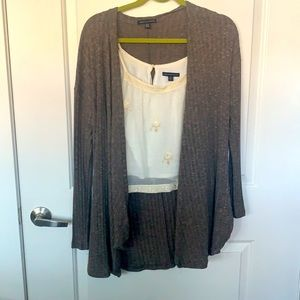 AE Floral Sequin Crop & Ribbed Cardigan